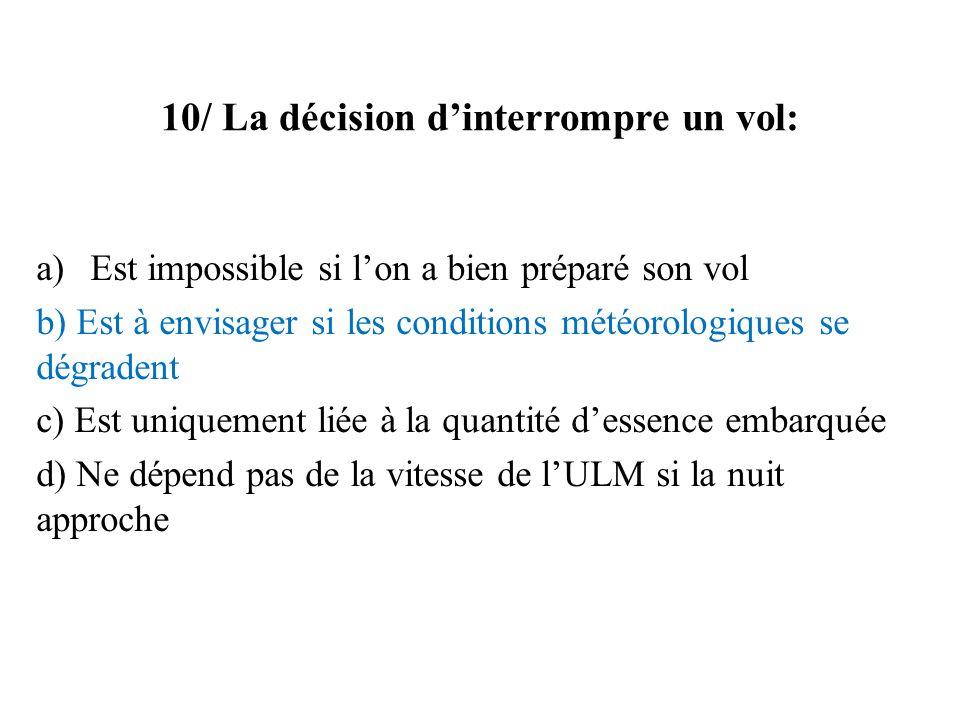 10/ La décision d'interrompre un vol: