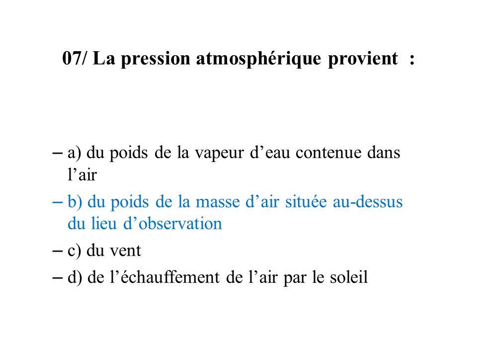 07/ La pression atmosphérique provient :