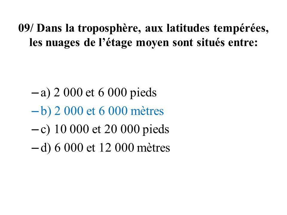 09/ Dans la troposphère, aux latitudes tempérées, les nuages de l'étage moyen sont situés entre: