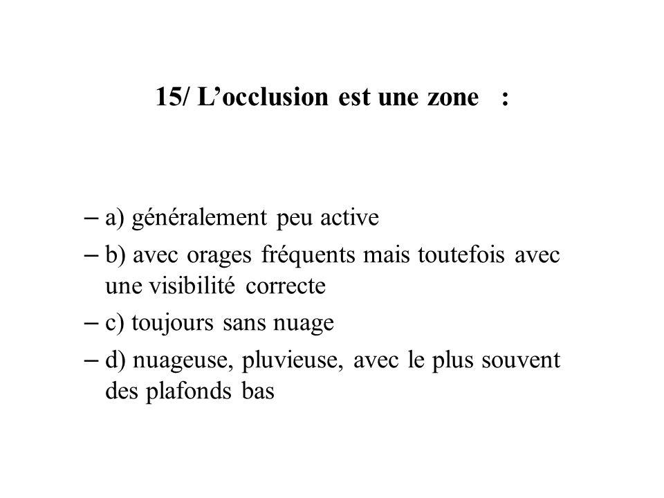 15/ L'occlusion est une zone :
