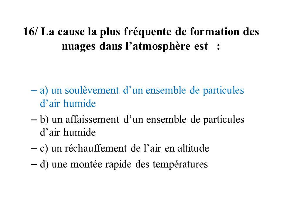 16/ La cause la plus fréquente de formation des nuages dans l'atmosphère est :