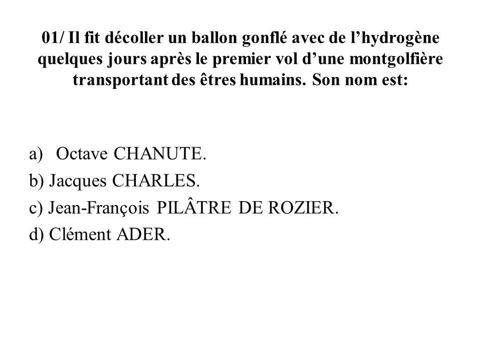 c) Jean-François Pilâtre de Rozier. d) Clément Ader.