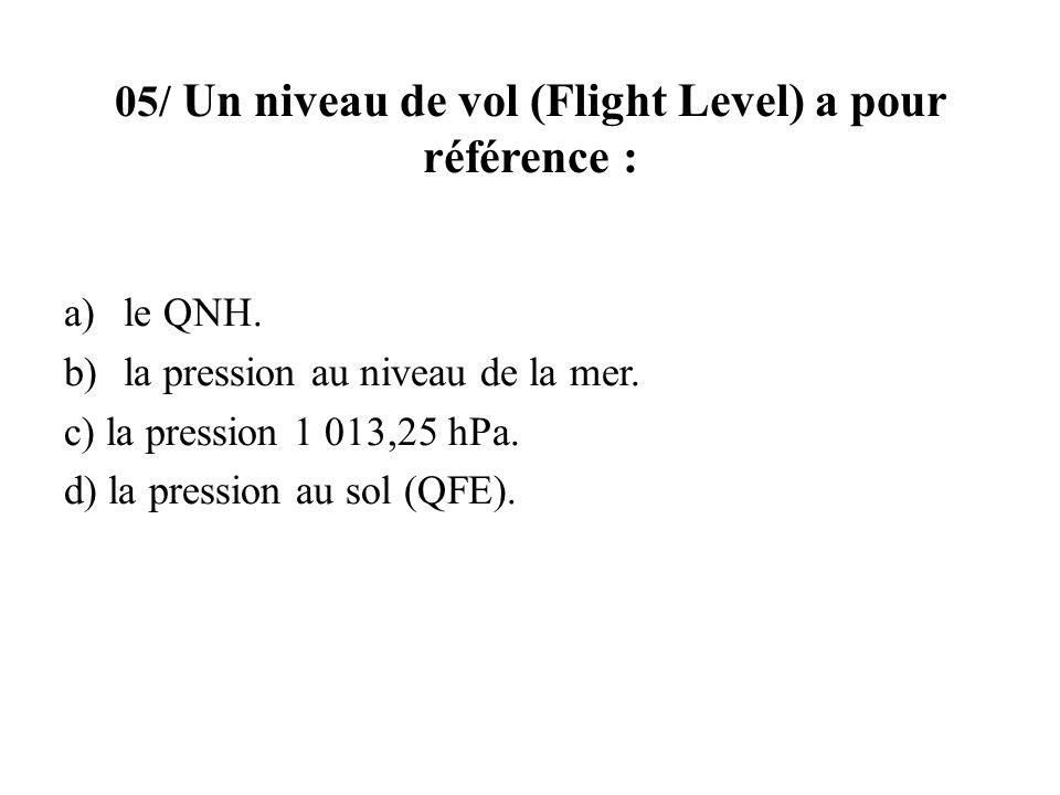 05/ Un niveau de vol (Flight Level) a pour référence :
