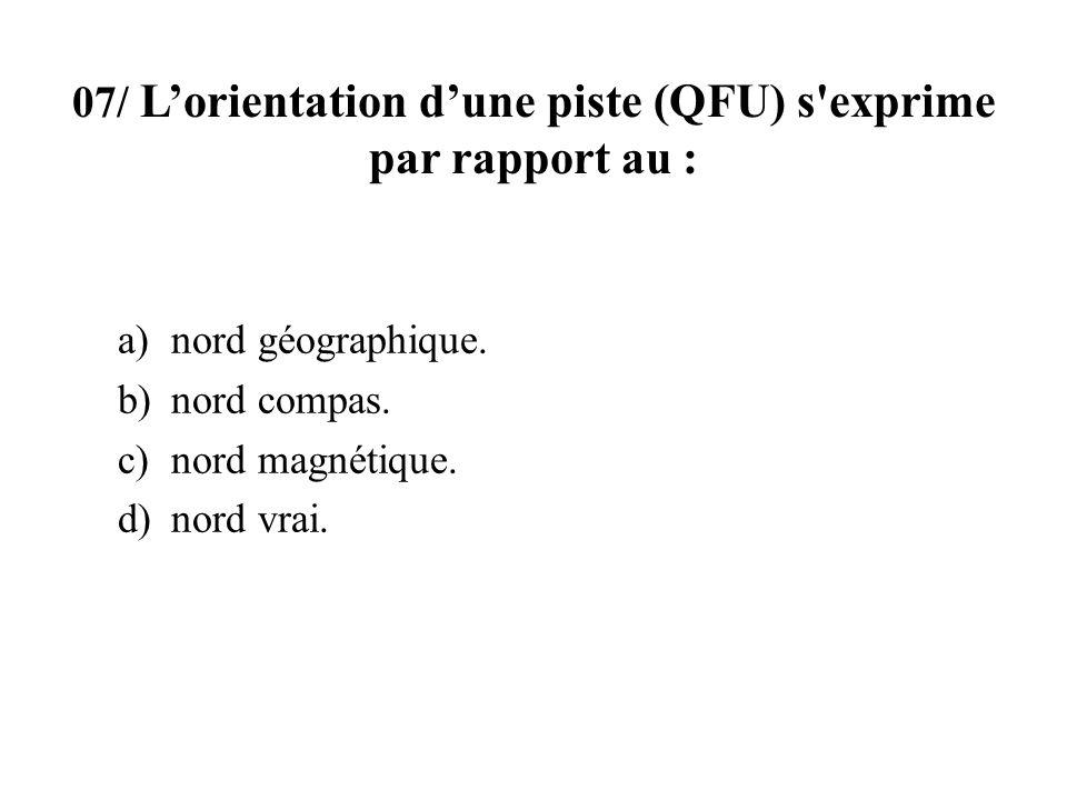 07/ L'orientation d'une piste (QFU) s exprime par rapport au :