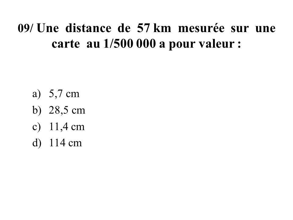 09/ Une distance de 57 km mesurée sur une carte au 1/500 000 a pour valeur :