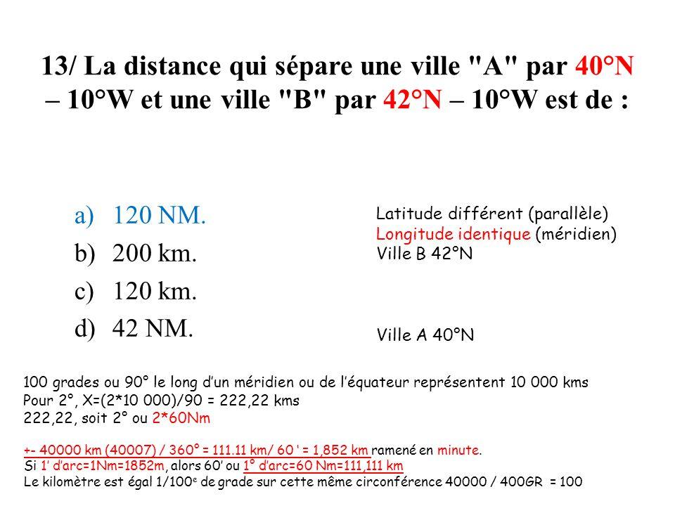 13/ La distance qui sépare une ville A par 40°N – 10°W et une ville B par 42°N – 10°W est de :