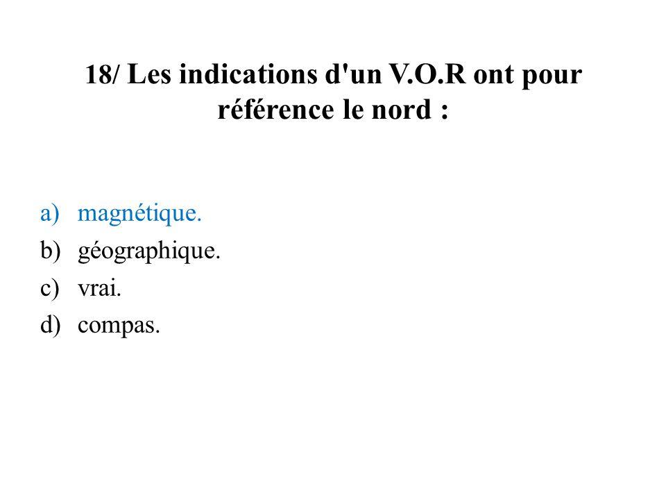 18/ Les indications d un V.O.R ont pour référence le nord :