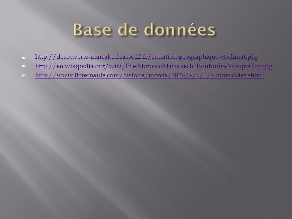 Base de données http://decouverte-marrakech.asso22.fr/situation-geographique-et-climat.php.