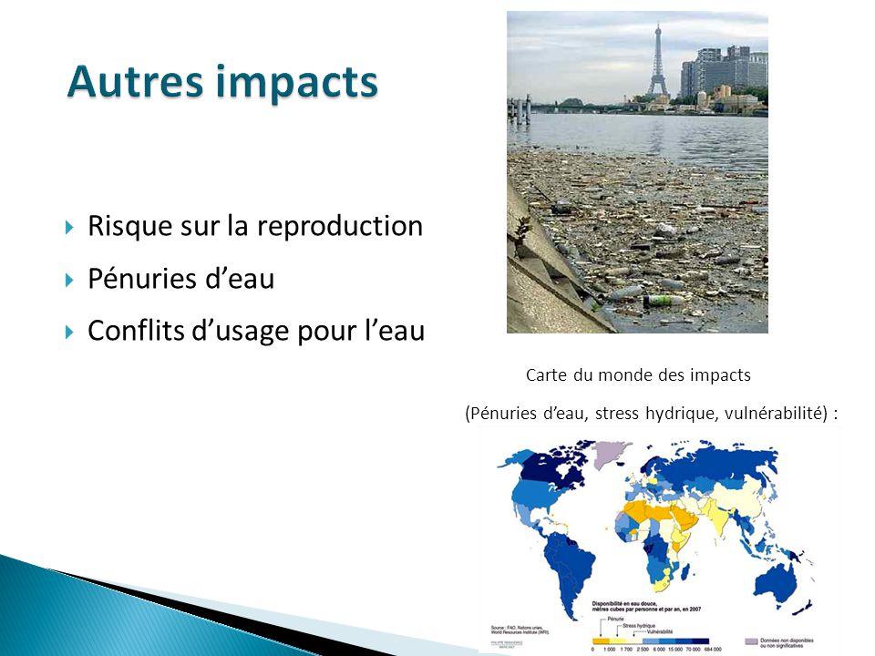 Autres impacts Risque sur la reproduction Pénuries d'eau