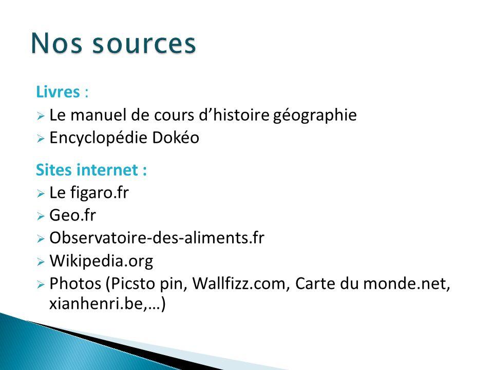 Nos sources Livres : Le manuel de cours d'histoire géographie