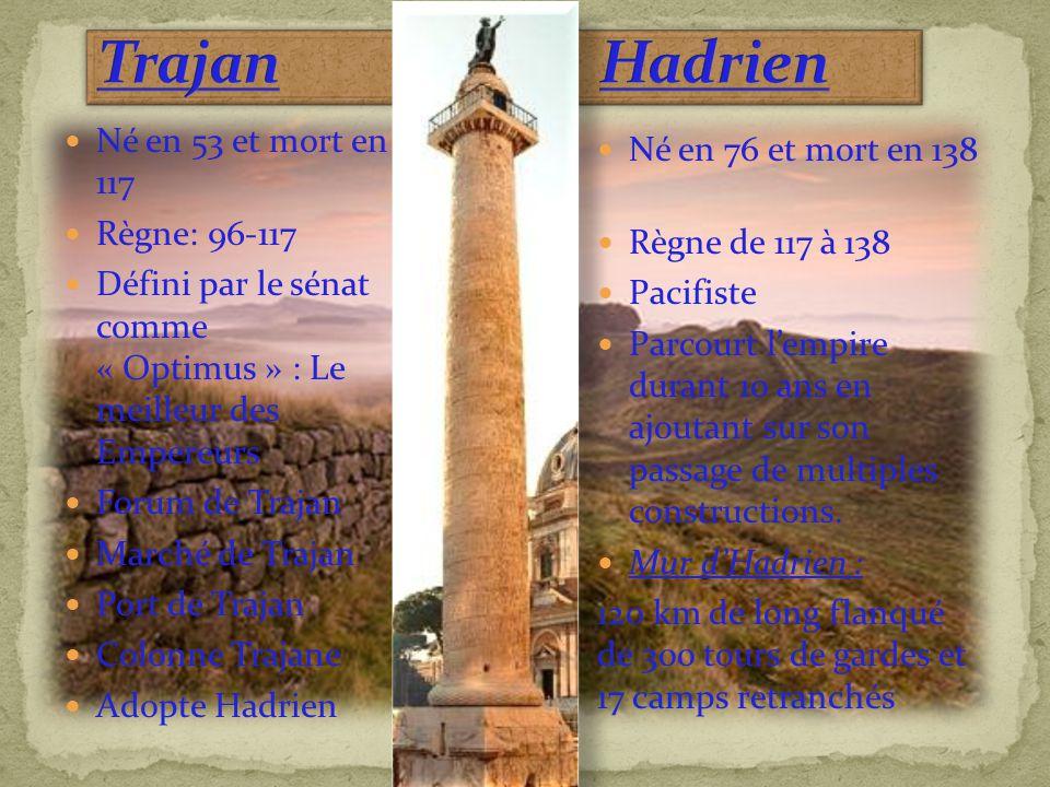 Trajan & Hadrien Né en 53 et mort en 117 Né en 76 et mort en 138