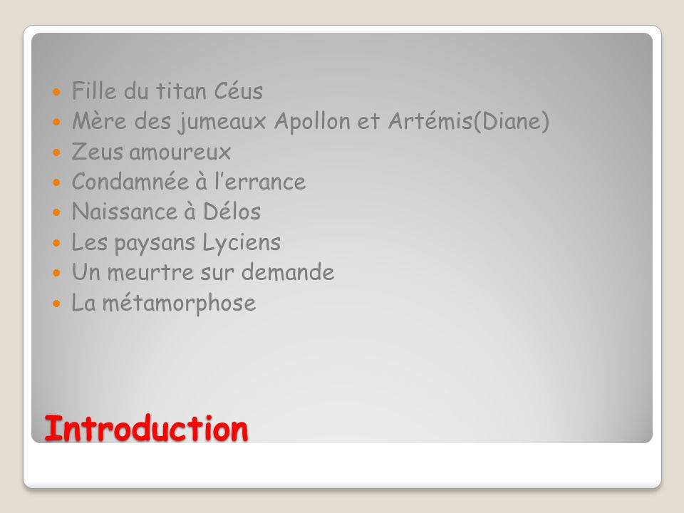 Introduction Fille du titan Céus