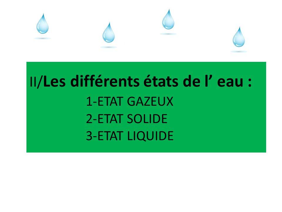 II/Les différents états de l' eau :. 1-ETAT GAZEUX. 2-ETAT SOLIDE