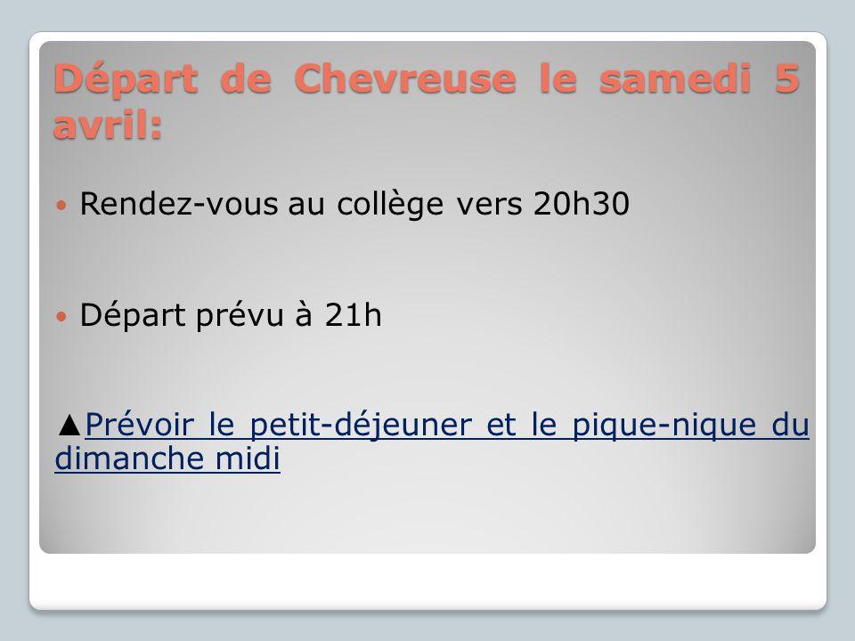 Départ de Chevreuse le samedi 5 avril:
