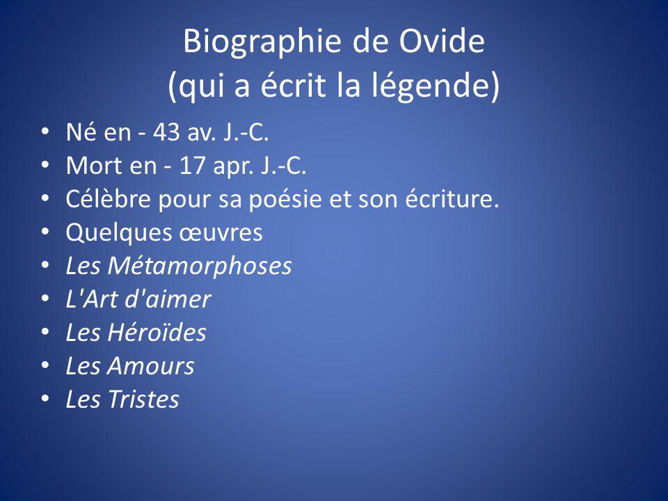 Biographie de Ovide (qui a écrit la légende)