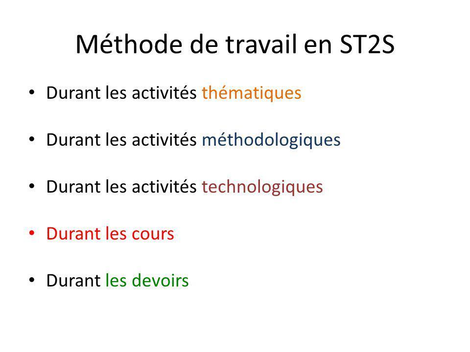 Méthode de travail en ST2S