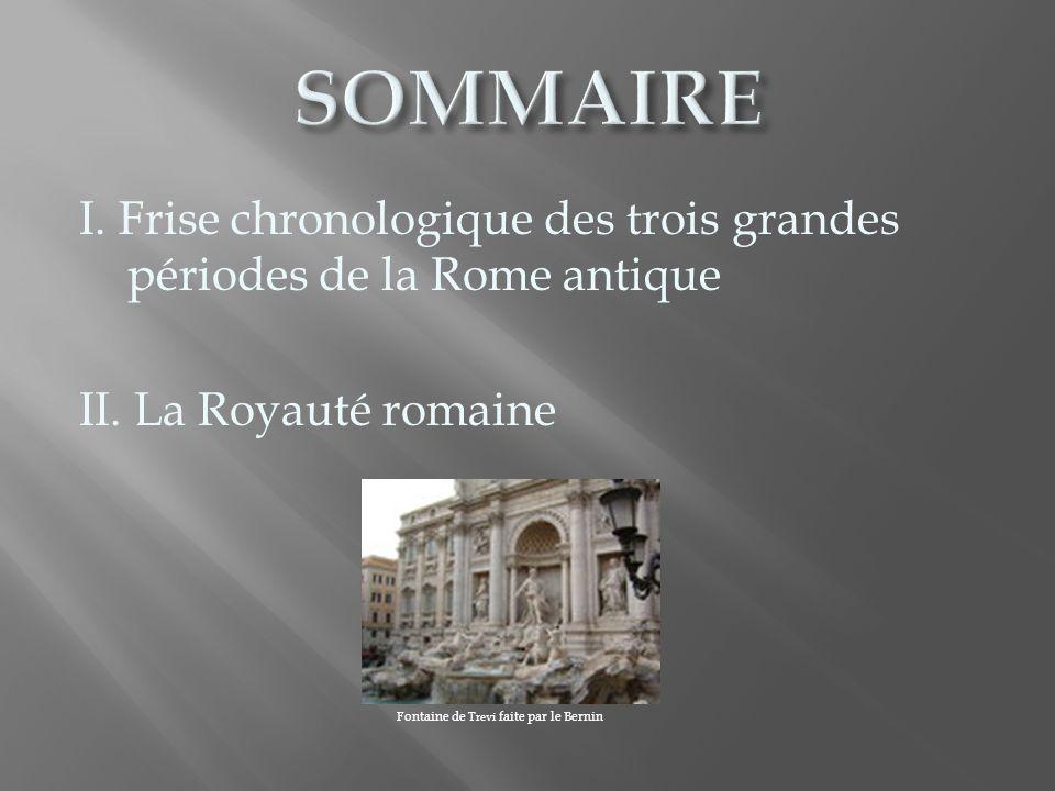 SOMMAIRE I. Frise chronologique des trois grandes périodes de la Rome antique. II. La Royauté romaine.