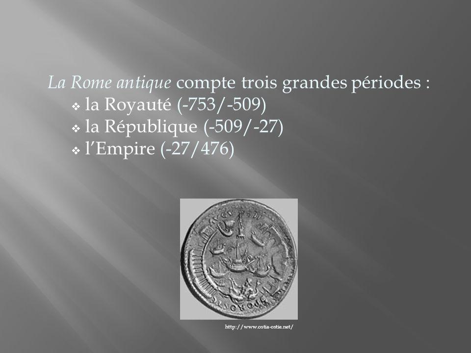 La Rome antique compte trois grandes périodes : la Royauté (-753/-509)