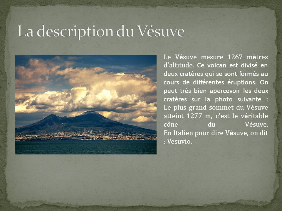 La description du Vésuve