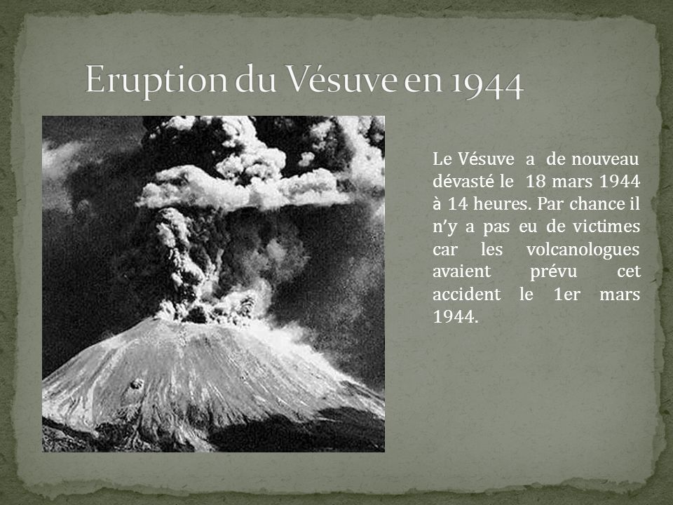 Eruption du Vésuve en 1944