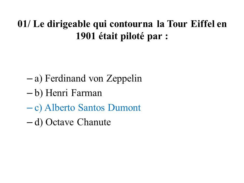 01/ Le dirigeable qui contourna la Tour Eiffel en 1901 était piloté par :