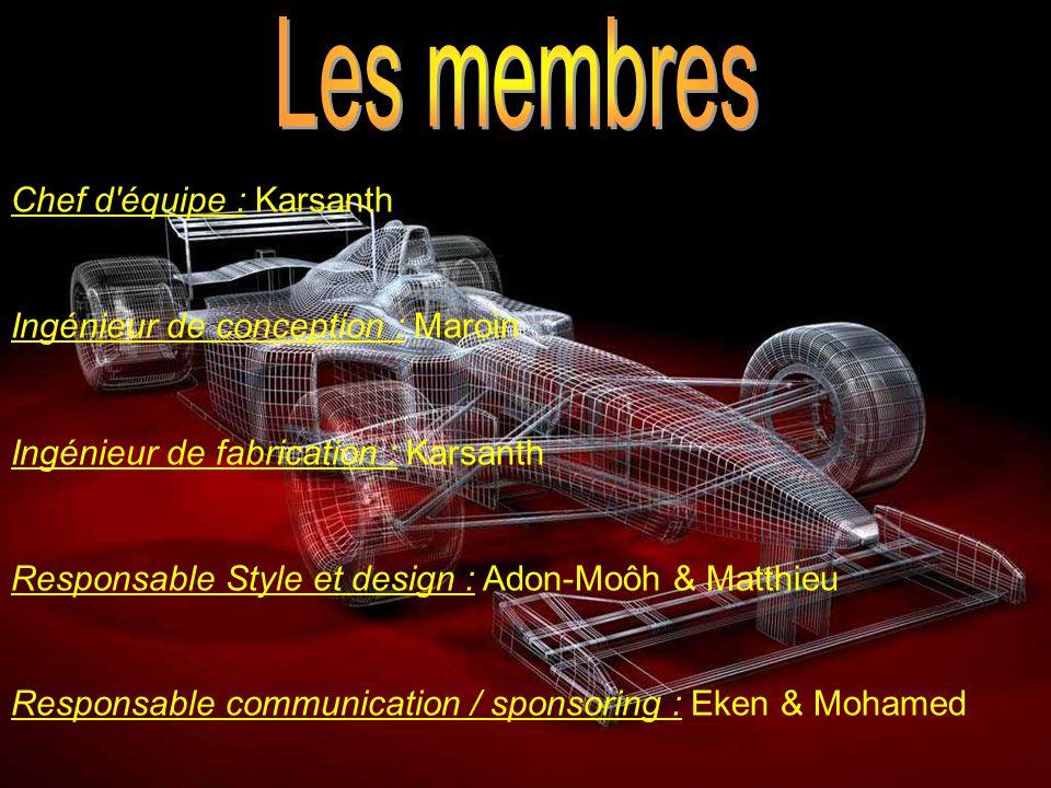 Les membres Chef d équipe : Karsanth Ingénieur de conception : Maroin