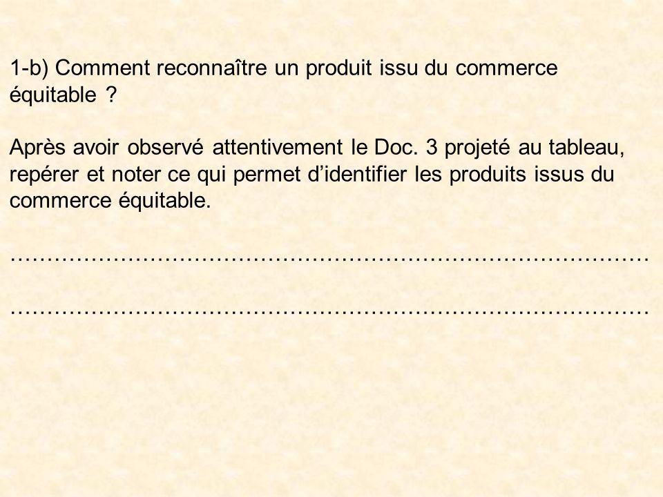 1-b) Comment reconnaître un produit issu du commerce équitable