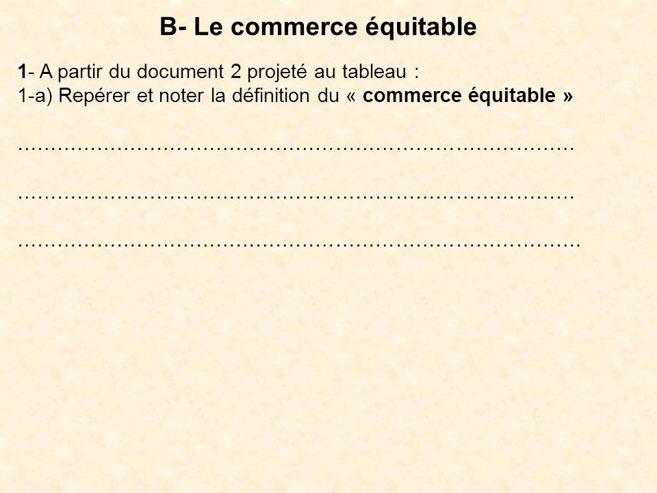 B- Le commerce équitable