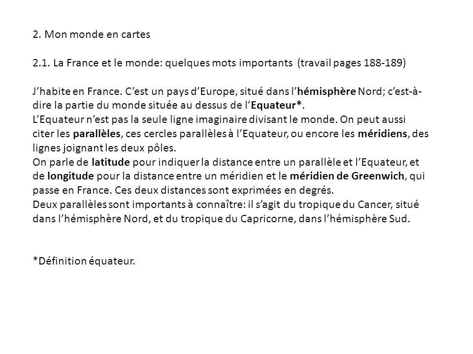 2. Mon monde en cartes 2.1. La France et le monde: quelques mots importants (travail pages 188-189)