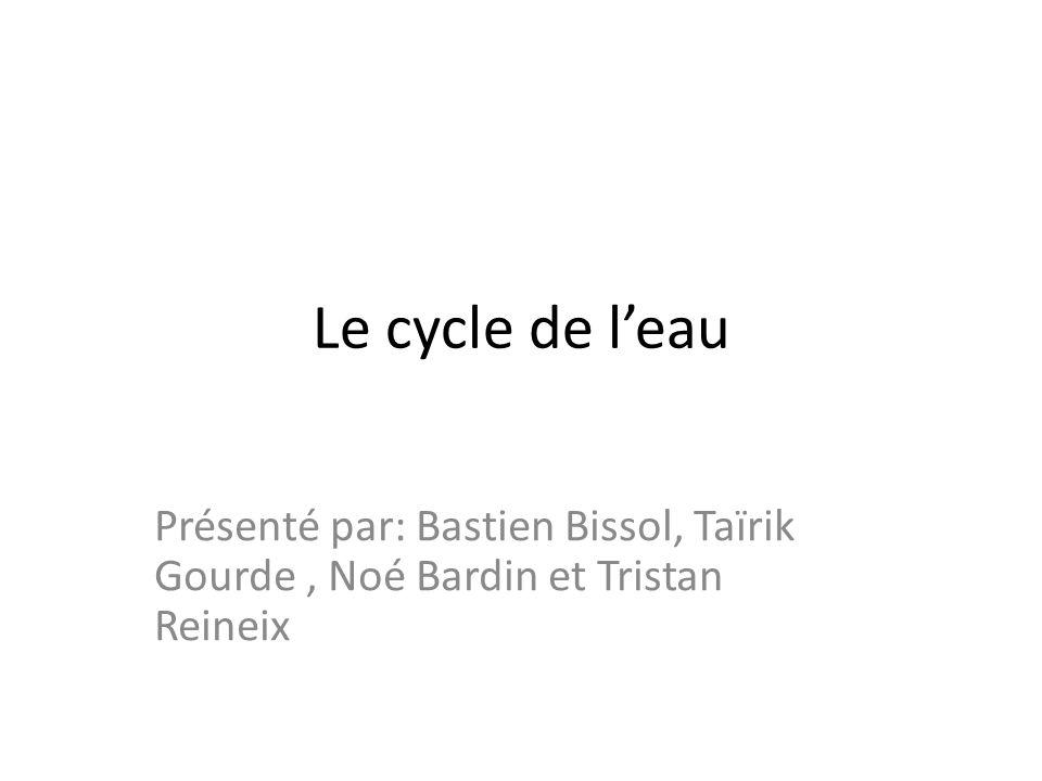 Le cycle de l'eau Présenté par: Bastien Bissol, Taïrik Gourde , Noé Bardin et Tristan Reineix