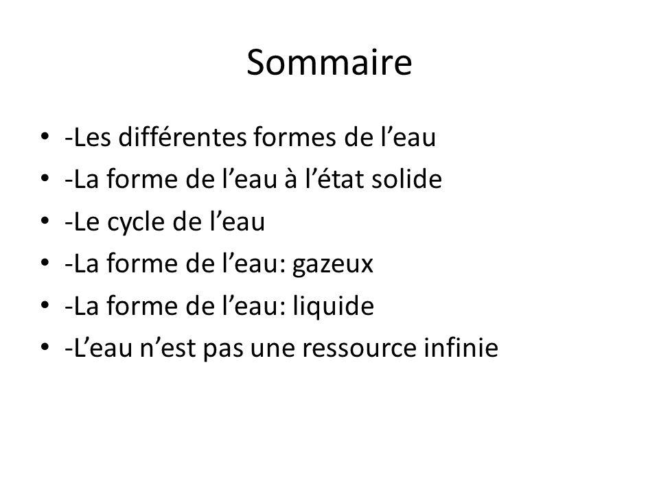 Sommaire -Les différentes formes de l'eau