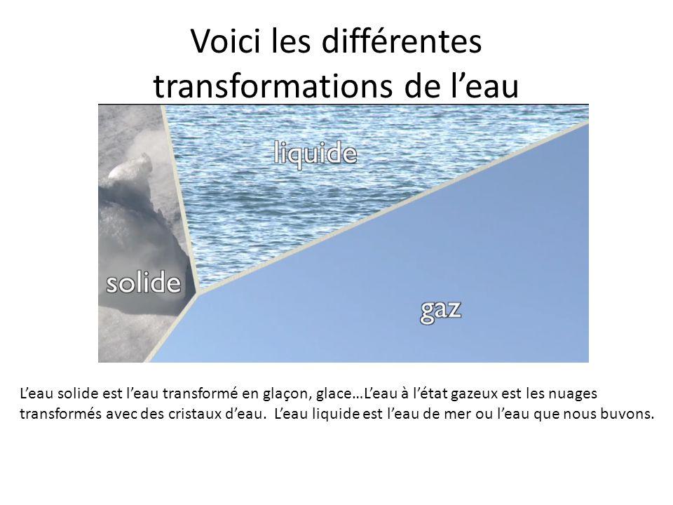 Voici les différentes transformations de l'eau