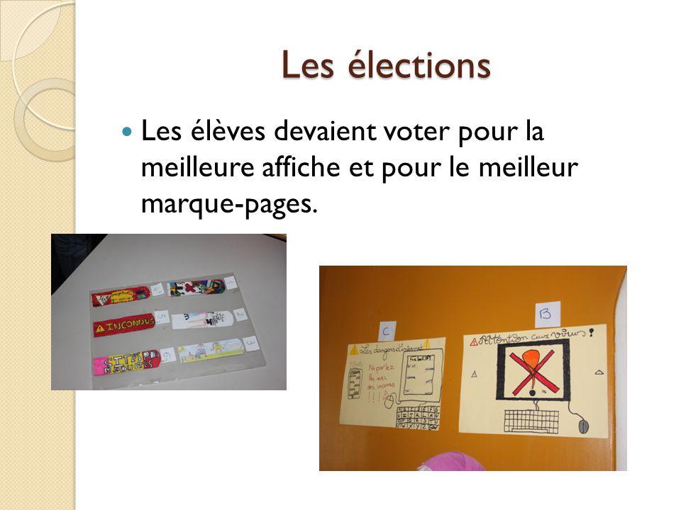 Les élections Les élèves devaient voter pour la meilleure affiche et pour le meilleur marque-pages.