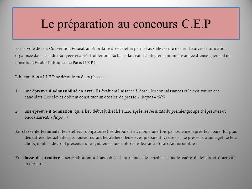 Le préparation au concours C.E.P