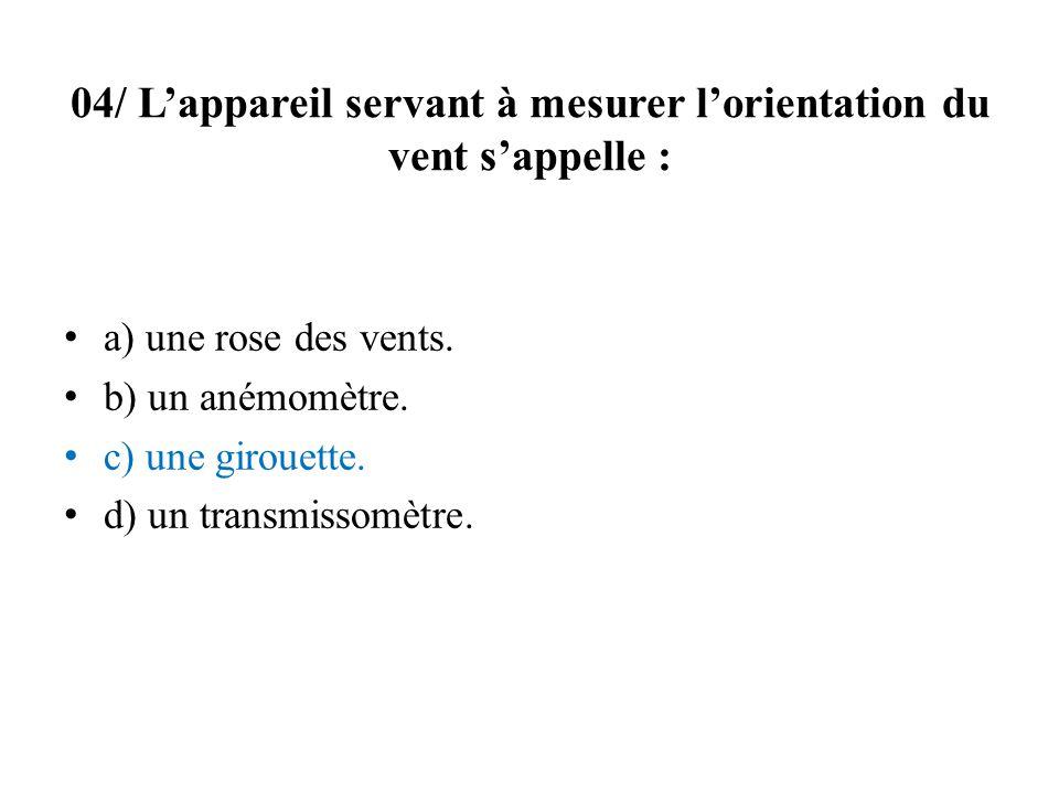 04/ L'appareil servant à mesurer l'orientation du vent s'appelle :