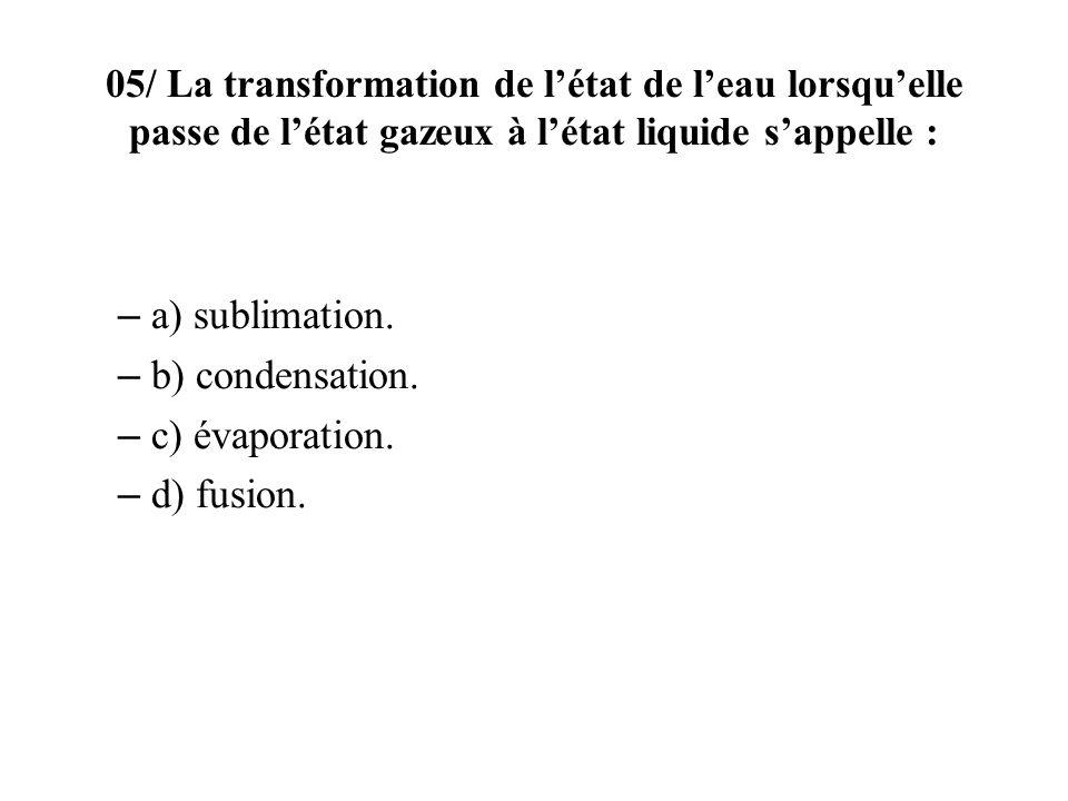 a) sublimation. b) condensation. c) évaporation. d) fusion.