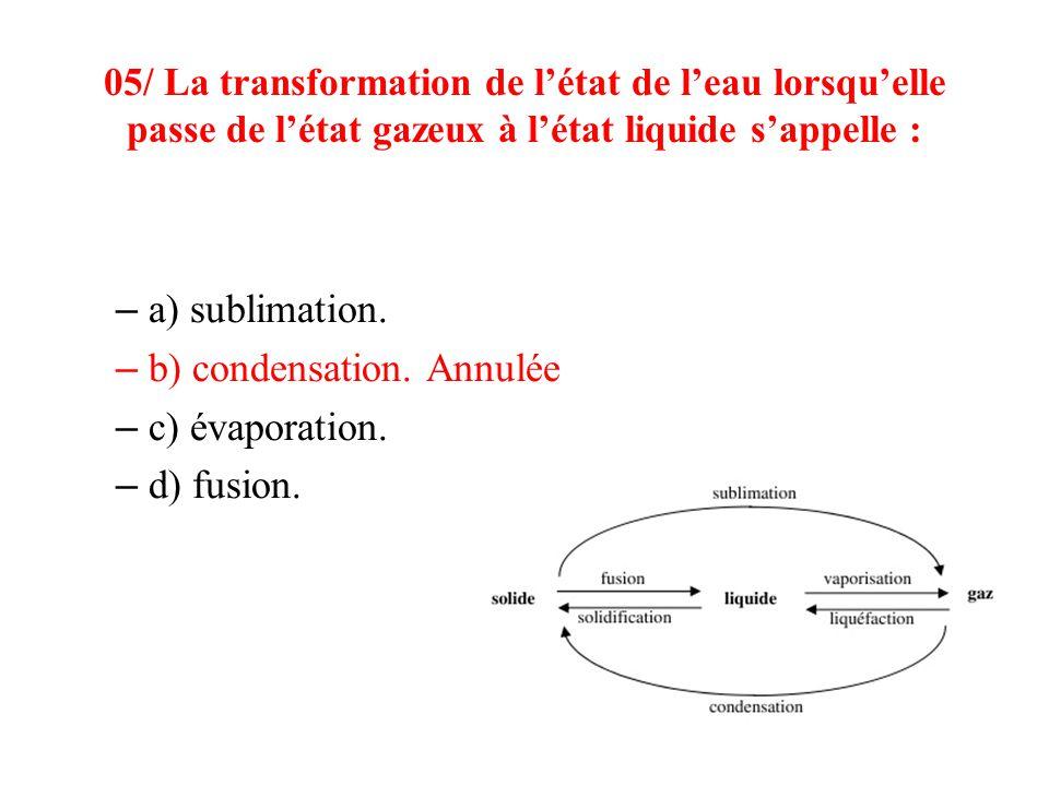 b) condensation. Annulée c) évaporation. d) fusion.