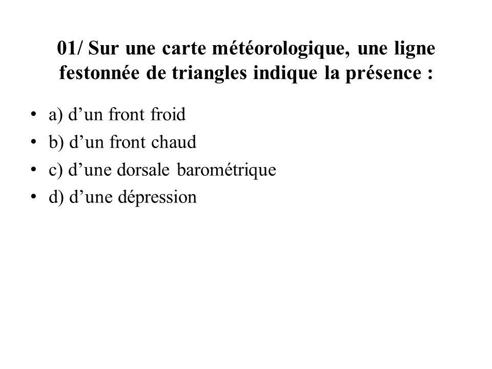 01/ Sur une carte météorologique, une ligne festonnée de triangles indique la présence :