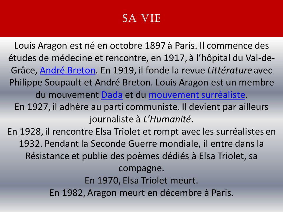 En 1982, Aragon meurt en décembre à Paris.