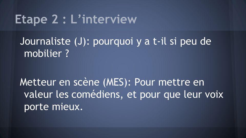 Etape 2 : L'interview Journaliste (J): pourquoi y a t-il si peu de mobilier
