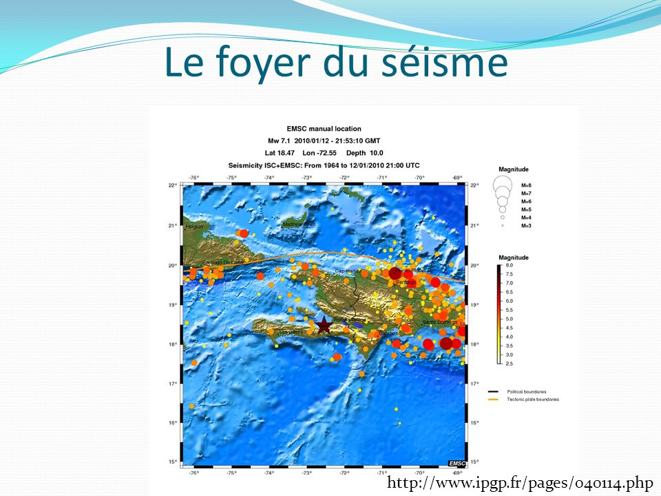 Le foyer du séisme http://www.ipgp.fr/pages/040114.php