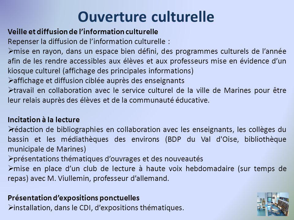 Ouverture culturelle Veille et diffusion de l'information culturelle