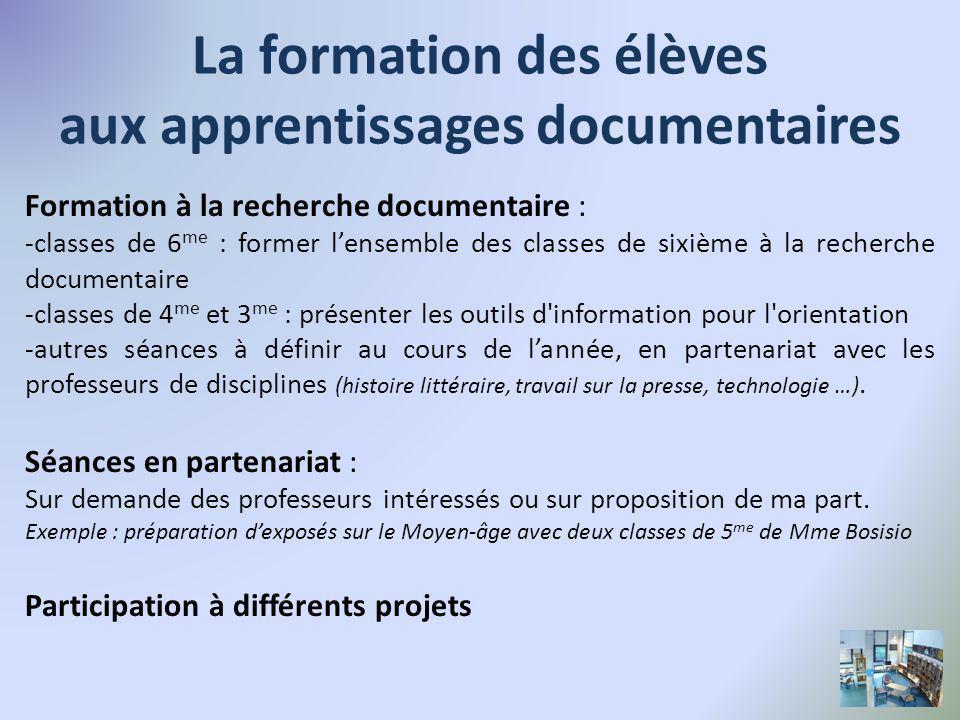 La formation des élèves aux apprentissages documentaires