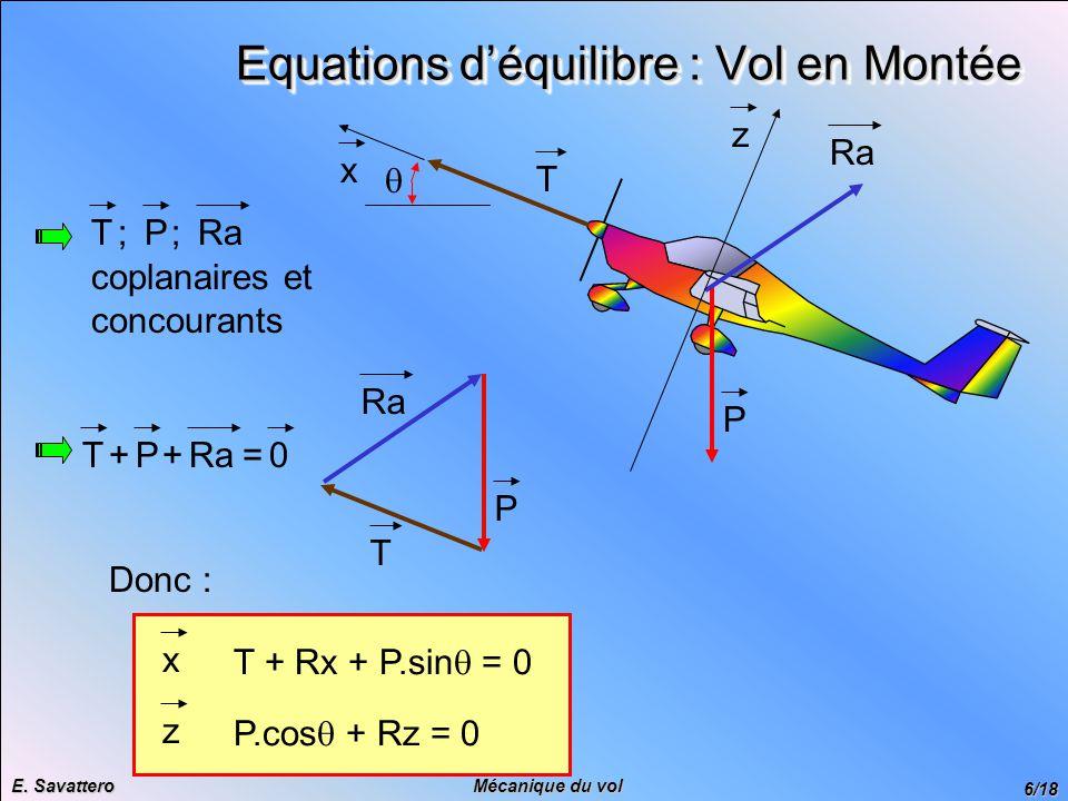 Equations d'équilibre : Vol en Montée