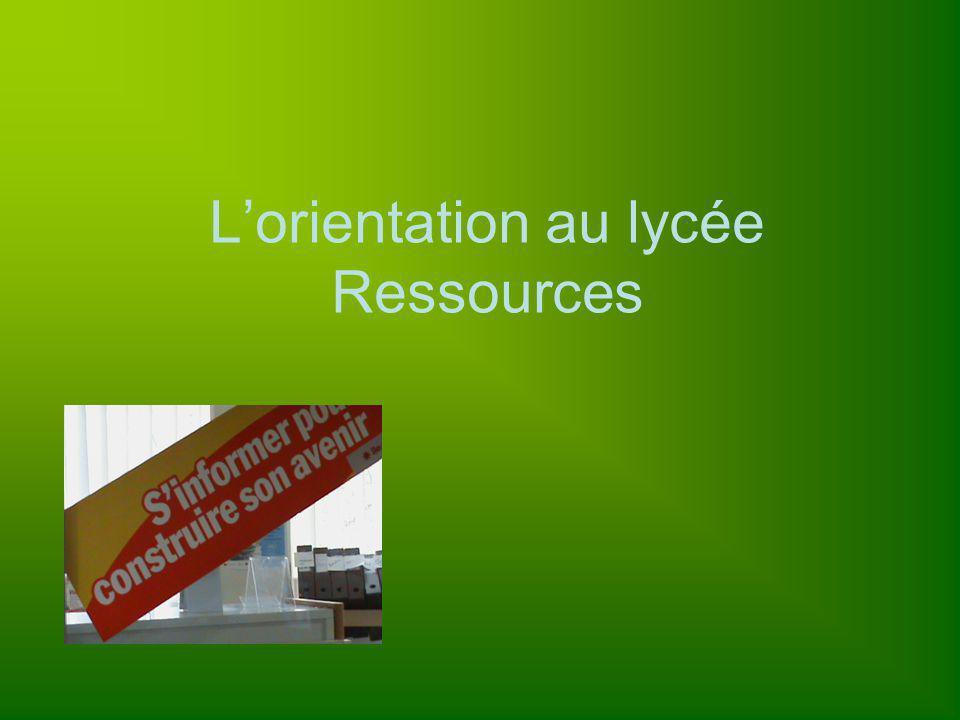 L'orientation au lycée Ressources