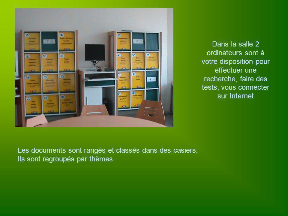 Dans la salle 2 ordinateurs sont à votre disposition pour effectuer une recherche, faire des tests, vous connecter sur Internet