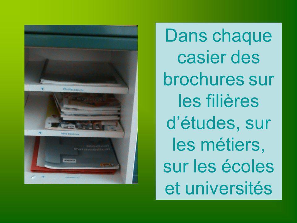 Dans chaque casier des brochures sur les filières d'études, sur les métiers, sur les écoles et universités