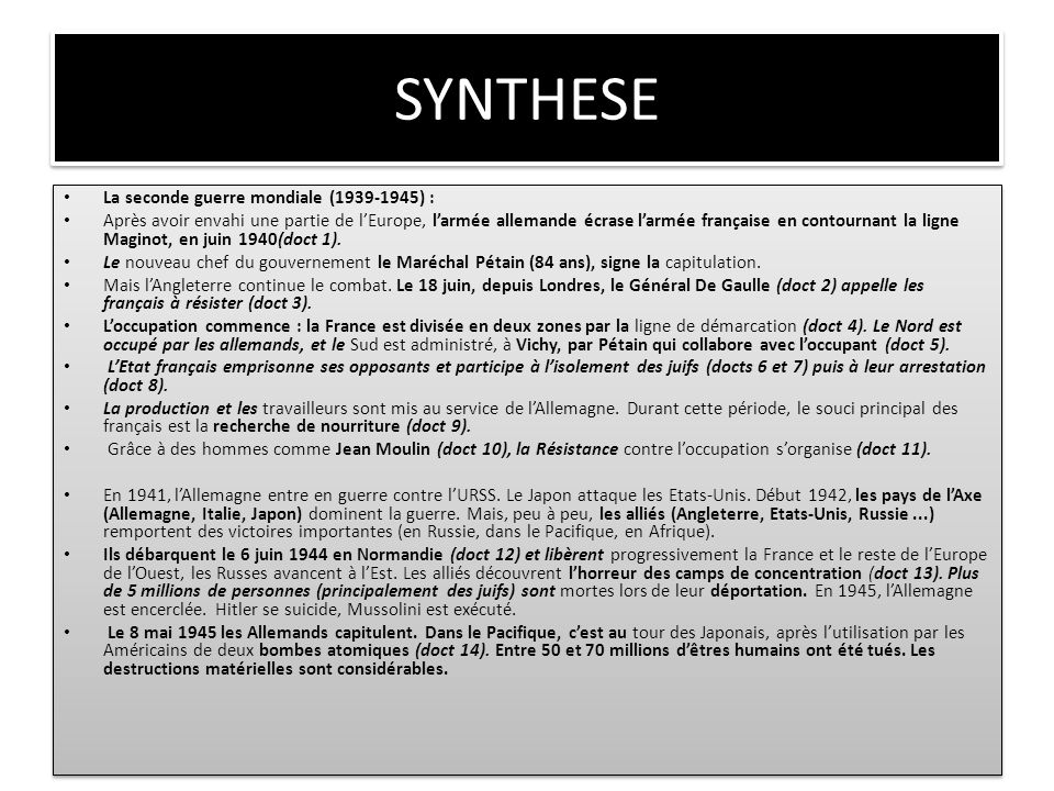 SYNTHESE La seconde guerre mondiale (1939-1945) :