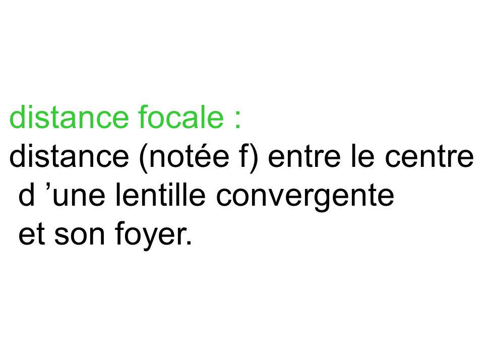 distance focale : distance (notée f) entre le centre d 'une lentille convergente
