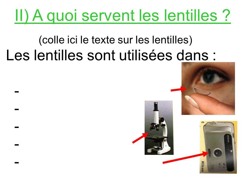 II) A quoi servent les lentilles